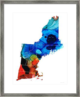 New England - Map By Sharon Cummings Framed Print by Sharon Cummings