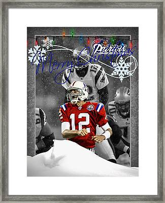 New England Patriots Christmas Card Framed Print by Joe Hamilton