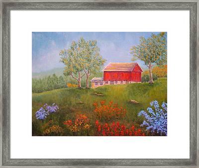 New England Red Barn Summer Framed Print by Pamela Allegretto