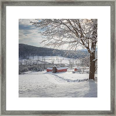 New England Winter Farms Morning Square Framed Print by Bill Wakeley