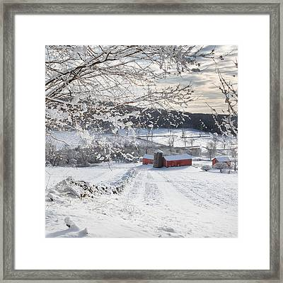 New England Winter Farms Square Framed Print by Bill Wakeley