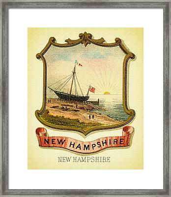 New Hampshire Coat Of Arms - 1876 Framed Print by Mountain Dreams