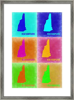 New Hampshire Pop Art Map 2 Framed Print by Naxart Studio