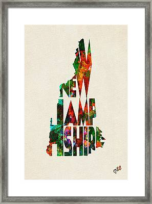 New Hampshire Typographic Watercolor Map Framed Print by Ayse Deniz