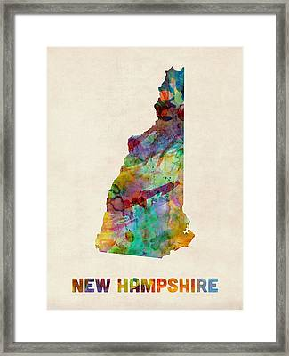 New Hampshire Watercolor Map Framed Print by Michael Tompsett