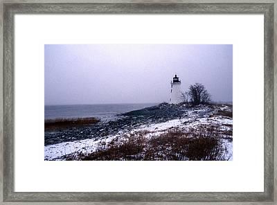New Haven Harbor Lighthouse Framed Print by Skip Willits