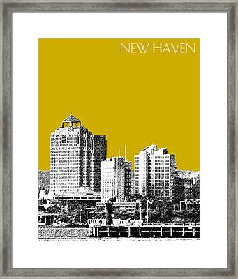 New Haven Skyline - Gold Framed Print by DB Artist