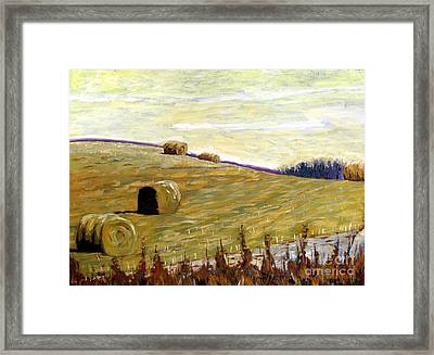 New Haybales Framed Print by Charlie Spear