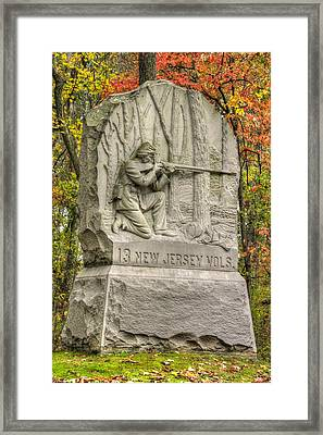 New Jersey At Gettysburg - 13th Nj Volunteer Infantry Near Culps Hill Autumn Framed Print by Michael Mazaika