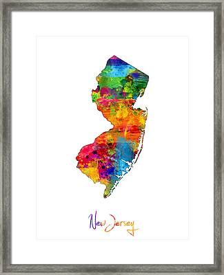 New Jersey Map Framed Print by Michael Tompsett