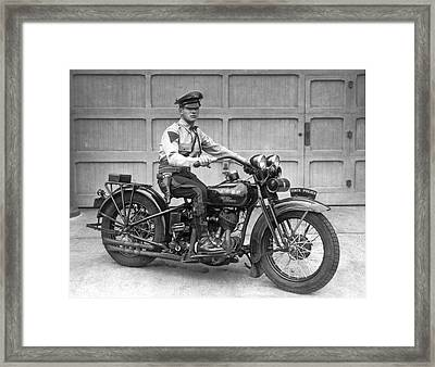 New Jersey Motorcycle Trooper Framed Print by Underwood Archives