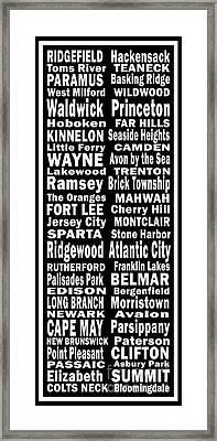 New Jersey Towns Canvas Art.com Framed Print by Joans Craft World