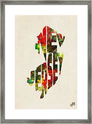New Jersey Typographic Watercolor Map Framed Print by Ayse Deniz