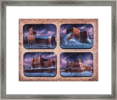 New Mexico Churches In Snow Framed Print by Ricardo Chavez-Mendez