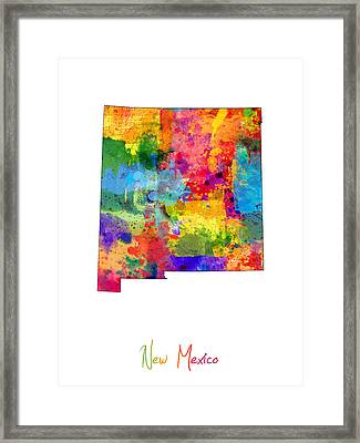 New Mexico Map Framed Print by Michael Tompsett