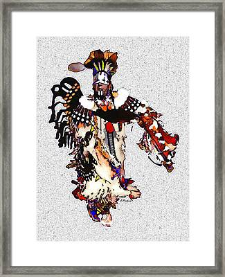 New Mexico Native Dancer Framed Print by Linda  Parker