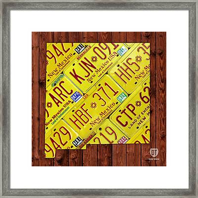 New Mexico State License Plate Map Framed Print by Design Turnpike