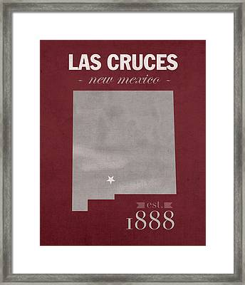 New Mexico State University Las Cruces Aggies College Town State Map Poster Series No 075 Framed Print by Design Turnpike
