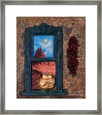 New Mexico Window Gold Framed Print by Ricardo Chavez-Mendez
