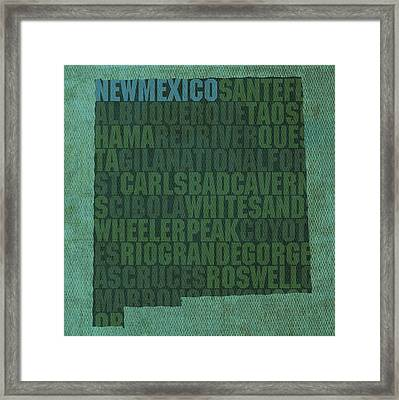 New Mexico Word Art State Map On Canvas Framed Print by Design Turnpike
