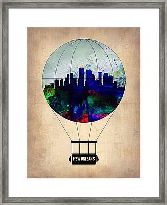 New Orleans Air Balloon Framed Print by Naxart Studio