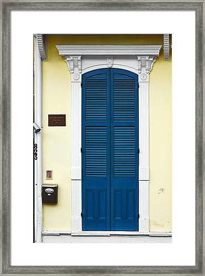 New Orleans Blue Door Framed Print by Christine Till