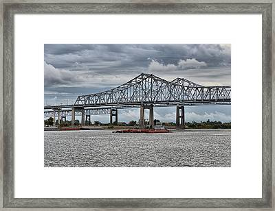 New Orleans Crescent City Connection Bridge Framed Print by Christine Till