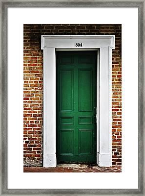 New Orleans Green Door Framed Print by Christine Till