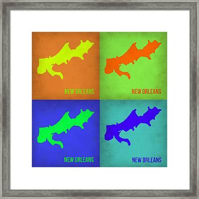 New Orleans Pop Art Map 1 Framed Print by Naxart Studio