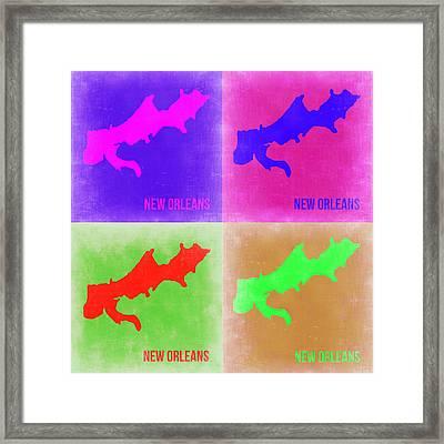 New Orleans Pop Art Map 2 Framed Print by Naxart Studio