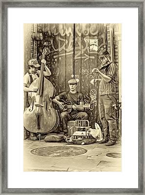 New Orleans Street Musicians - Paint Sepia Framed Print by Steve Harrington