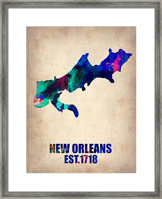 New Orleans Watercolor Map Framed Print by Naxart Studio
