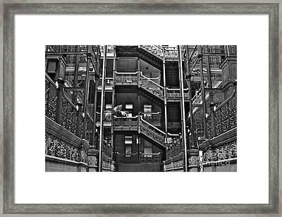 New Photographic Art Print For Sale Bradbury Building Downtown La Framed Print by Toula Mavridou-Messer
