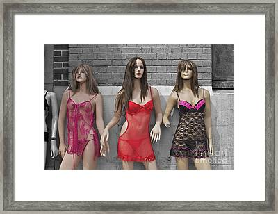 Sex Sells Mannequins In Lingerie In Downtown Los Angeles  Framed Print by Toula Mavridou-Messer