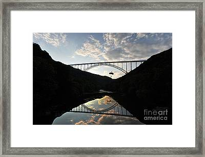 New River Bridge -  Base Jumper Framed Print by Dan Friend