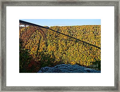 New River Gorge Bridge From Precipice Framed Print by Timothy Connard