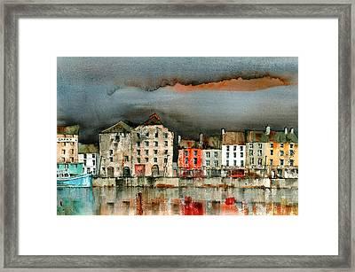 New Ross Quays Wexford Framed Print by Val Byrne