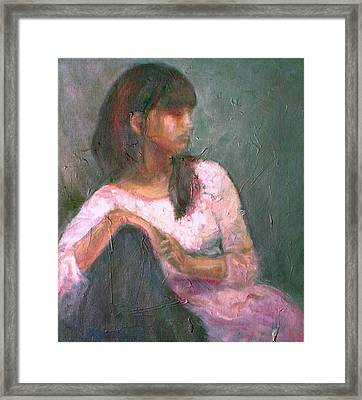 New Year's Blossom - Textural Original Oil On Canvas Portrait Framed Print by Quin Sweetman
