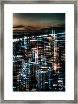 New York - The Night Awakes - Dark Framed Print by Hannes Cmarits