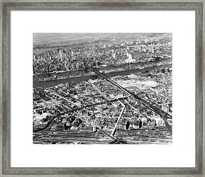 New York 1937 Aerial View  Framed Print by Underwood Archives