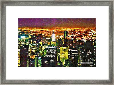 New York At Night From The Empire State Building Framed Print by John Malone of Halifax Nova Scotia Canada