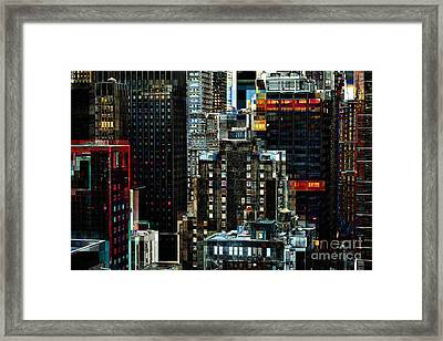 New York At Night - Skyscrapers And Office Windows Framed Print by Miriam Danar
