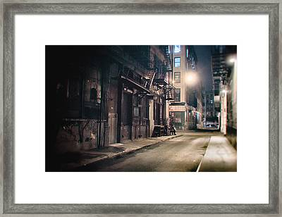 New York City Alley At Night Framed Print by Vivienne Gucwa