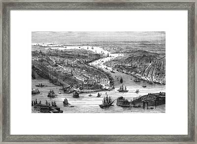 New York City And Docks, 19th Century Framed Print by Science Photo Library