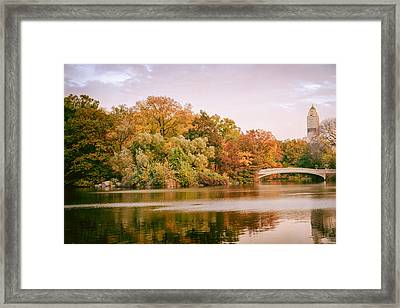 New York City - Autumn - Central Park - Lake And Bow Bridge Framed Print by Vivienne Gucwa