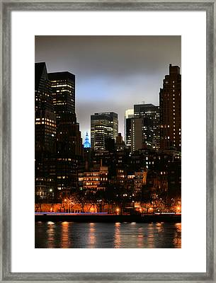 New York City Blue Framed Print by JC Findley