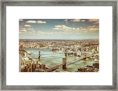 New York City - Brooklyn Bridge And Manhattan Bridge From Above Framed Print by Vivienne Gucwa