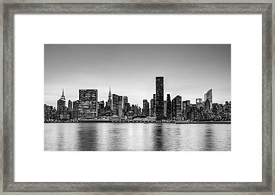 New York City Dusk Colors Bw Framed Print by Susan Candelario