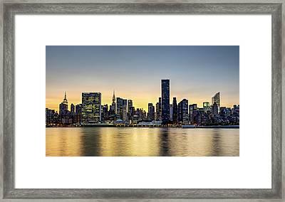 New York City Dusk Colors Framed Print by Susan Candelario