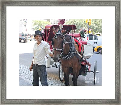 New York City Horse And Carriage Framed Print by John Telfer